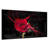Tempered Glass Photo Print Wall Art Picture Red Rose Splash Black Prizma GWA0320