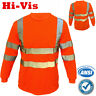Hi Vis T Shirt High Visibility ANSI Class 3 Reflective Long Sleeve Neon Orange