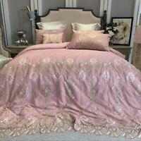Luxury Romantic Lace Bedding Set 100S Egyptian Cotton Duvet Cover Bed Sheet 4pcs