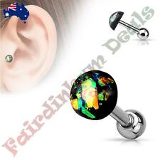 316L Surgical Steel Tragus/Cartilage Stud with Dark Green Glitter Opal Dome Top