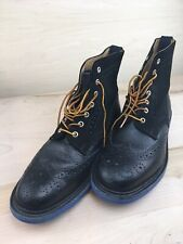 MARK MCNAIRY BROGUE BOOTS Blue COMMANDO SOLE SZ 10 UK 11 US MADE IN ENGLAND