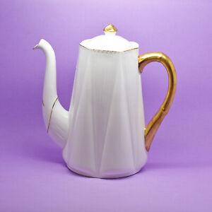 Shelley 'Regency' Coffee Pot, White & Gold, Vintage, England