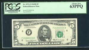 FR. 1971-F 1969-B $5 FRN FEDERAL RESERVE NOTE ATLANTA, GA PCGS UNC-63PPQ