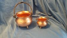 Vintage Hammered Copper Pots with legs made in West Germany