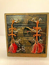 """ANTIQUE JEWELRY BOX JAPANESE HINA DOLL FURNITURE 4 DRAWERS CHEST LACQUER 4 1/2"""""""