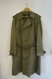 St Michael Vintage Cotton Blend Olive Green Double Breasted Trench Coat (UK 42R)