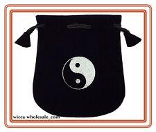 Black Velvet Bag Pouch 5 X 5 Ying Yang Wicca Talisman Drawstring Tarot