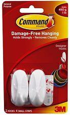 2 x 3m Command Small Designer Hooks White Damage Free Utensil Hanging Holds 450g