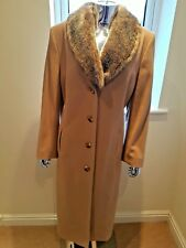 Stunning Virgin Wool Mix Maxi Coat By Eastex In Beige Size 18