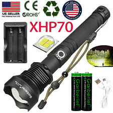 90000Lumens xhp70 LED Zoom USB Rechargeable Ultra Bright Flashlight Torch 18650