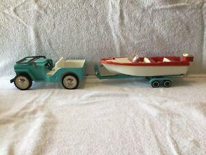 Vintage TONKA(Mound Minn.) Jeep Boat trailer RUNABOUT Set No. 516