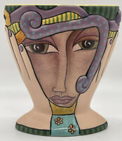 Handcrafted Silvestri Two Faced Pottery Vase By Kimberly Wilcox