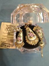 A#35 Genuine Russian Jewelry Melchior Set Earrings Pendant Vintage Filigree 7.1