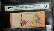 CCY~ZA0000 3 00 RM20 First REPLACEMENT New Malaysia Rare BANKNOTE,UNC,NR!PMG 66