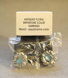 Avon Antiqued Floral Birthstone Color Earrings March Aqua Color Stud NEW NIB