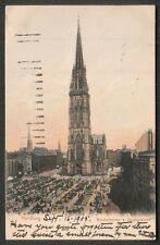 1905 post card Germany Hamburg Nicolaikirche u Hopfenmarkt to Waukesha WI