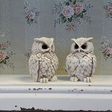 Pair of Small Cream Owl Ornaments