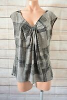 Basque Tank Top Shirt Blouse Size 14 Grey Black Check Sleeveless Stretch