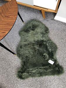 100% Genuine Sheepskin Rug In British Racing Green Retro Throw Real Fluffy