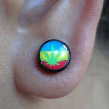 Pair of Rasta Studs Magnetic Earrings Mens Womens Kids Reggae Costume Jewellery