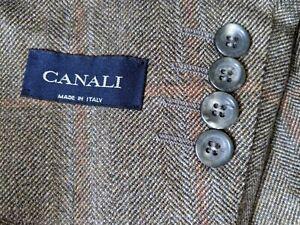 CANALI Olive Brown Blue WOOL Tweed Check Plaid Sport Coat Jacket Blazer 56L 46L