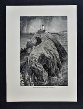 1878 Picturesque Print - South Stack Lighthouse - Holy Island Anglesey Wales UK