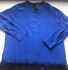 Club Monaco Kyra Silk Chemise Blouse Cobalt Blue Slits 3/4 Sleeve Pocket XS NEW