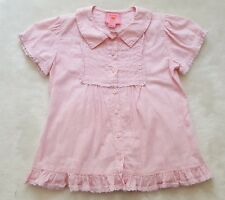Exc ROOM SEVEN Pink S/S Top 104 4 Ruffle Pintuck Blouse Shirt Oilily