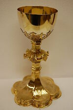"""BEAUTIFUL 8 3/4"""" GOLD PLATED GOTHIC CHALICE with STERLING SILVER CUP -CHURCH co."""