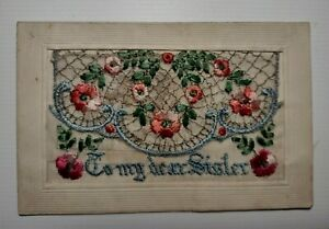 Vintage First World War c1914-1918 Embroidered Postcard - 'To My Dear Sister'