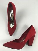 NEW M&S LIMITED EDITION RED FAUX FUR & SUEDE SLIP ON HIGH HEEL SHOES UK 5 EU 38