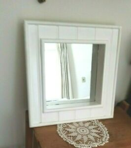 TWO vintage White Wood Square Mirrored SHADOW BOX Shelves Set of 2