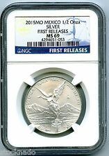 2015 MO MEXICO 1/2 OZ ONZA SILVER LIBERTAD NGC MS69 FIRST RELEASES LOW MINTAGE