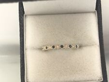 14K Yellow Gold Natural Sapphire Diamond Stackable Band Ring Size 7