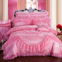 6pc.9pc. Luxury Pink Princess Lace Ruffles Cotton Jacquard Duvet Cover Bed Set