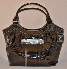 GUESS Daisy Shine Large Shopper Bag Purse Handbag Croco Print Black New