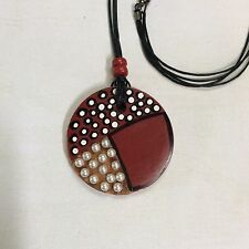 Round wooden pendant necklace. Maroon,black and white pendant.Cream pearls