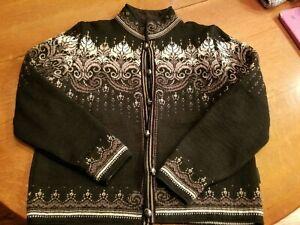 Dale Of Norway Womens Wool Nordic Cardigan Sweater Jacket Black/Grey/Ivory Med