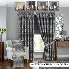Antalya Pencil Pleat Curtains Heavy Jacquard Tape Top Outdoor Indoor Curtain UK