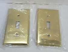 Lot of 2 Mulberry Polished BRASS Gang Toggle Switch Cover Wallplate Switchplate
