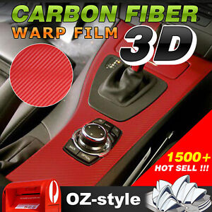 Red Textured 3D Carbon Fiber Vinyl Wrap Film Car Decoration Sticker DIY 151x75cm