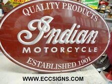 """INDIAN MOTORCYCLE 1901  LG OVAL  SIGN  15"""" x 24""""  PARTS EC0259"""