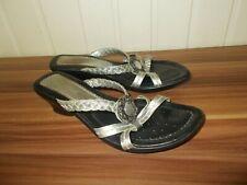 Chaussures mules sandales cuir argenté broche à talons GEOX 38