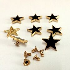 "Pkg of 5 GOLD and BLACK STAR Metal Rivet Studs 3/4"" Leather Crafts (1032)"