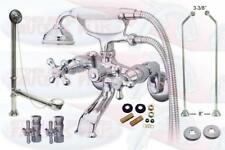 Polished Chrome Clawfoot Tub Faucet Package Kit With  Drain, Supplies, & Stops