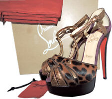 Christian Louboutin Glennalta Genuine Calf Hair Platform Sandal Pump Shoe 37