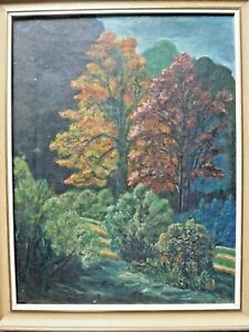 Mid 20th C Oil On Canvas. Autumnal Landscape. Signed 1947