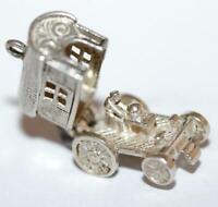 Opening Gypsy Wagon Fortune Teller Sterling Silver Vintage Bracelet Charm 3.2g