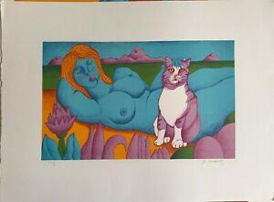 Michael Ciomakov litografia Nudo con Gatto  70x50 firmata numerata