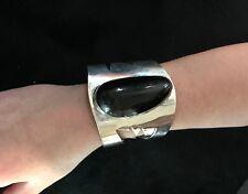"SKS LARGEST Sterling Silver Black Onyx Wide 2.94"" Cuff Bracelet 7"" 144 Grams"